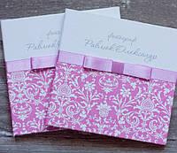 Коробочка (бокс) для свадебного диска в розовых тонах