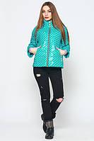 Стильная молодежная бирюзовая  куртка Джеки горох  Leo Pride 42-50 размеры