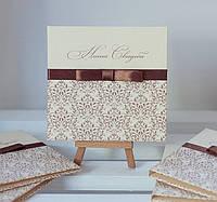 Коробочка (бокс) для свадебного диска с лентой шоколадного цвета