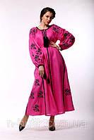 Льняное платье из вышитым узором из роз