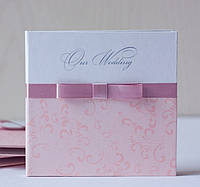 Коробочка-бокс картонная для свадебных дисков в сереневых тонах