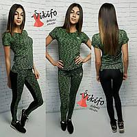 Костюм Аdidas женский для фитнеса футболка и лосины со вставками меланж 2 цвета Ff18