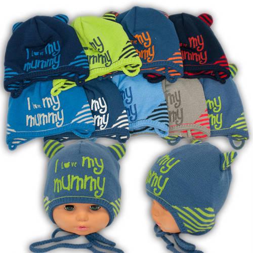 Вязаная шапка на завязках, для мальчика, 1183