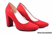 Стильные туфли женские Zan Zara эко-замш (изысканные, удобная колодка, каблук, красный, Польша)