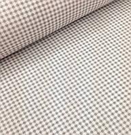Хлопковая ткань польская клетка серая на белом