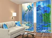 """ФотоШторы """"Голубая орхидея"""" 2,5м*2,0м (2 половинки по 1,0м), тесьма"""