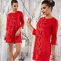 Перфорированное элегантное платье, красное