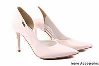Элегантные туфли женские Zan Zara эко-лак, беж (изысканные, удобная колодка, шпилька, Польша)