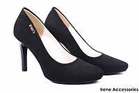 Элегантные туфли женские Zan Zara эко-замш, черные (изысканные, удобная колодка, шпилька, Польша)