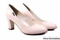 Стильные туфли женские Zan Zara эко-лак, беж (изысканные, удобная колодка, каблук, Польша)