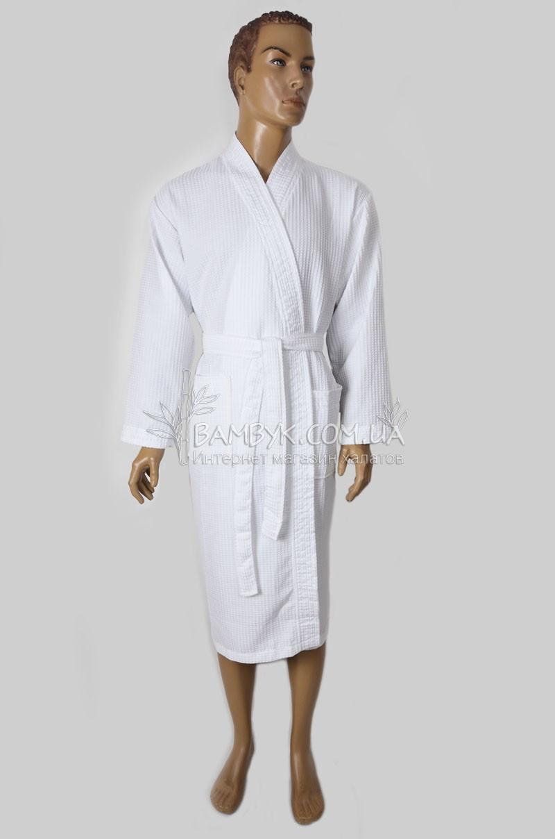 Халат белый вафельный (кимано) для отелей и салонов красоты Nusa № 4445
