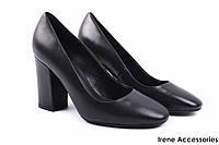 Стильные туфли женские Basconi натуральная кожа (изысканные, удобная колодка, каблук, черный)