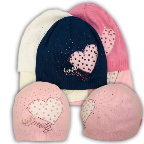 Вязаная шапка с камнями и брошкой, для девочки, B19