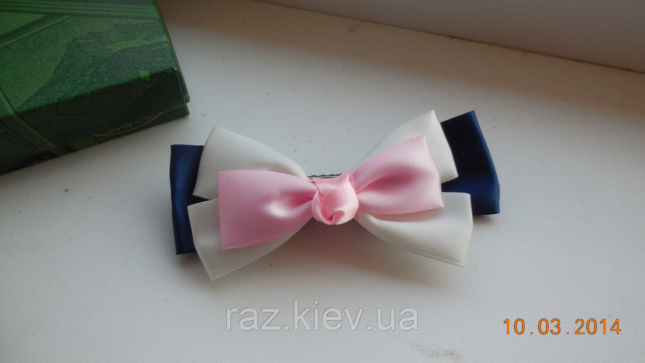 Бант для волосся, шпилька-бант hand-made, дитячі банти на голову (рожево-біло-синій )