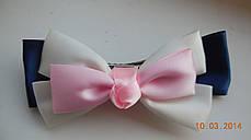 Бант для волосся, шпилька-бант hand-made, дитячі банти на голову (рожево-біло-синій ), фото 2