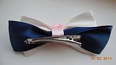 Бант для волосся, шпилька-бант hand-made, дитячі банти на голову (рожево-біло-синій ), фото 3