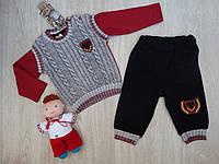 """Трикотажный костюм """"Эмблема"""" с жилетом-обманкой для мальчика р.80"""