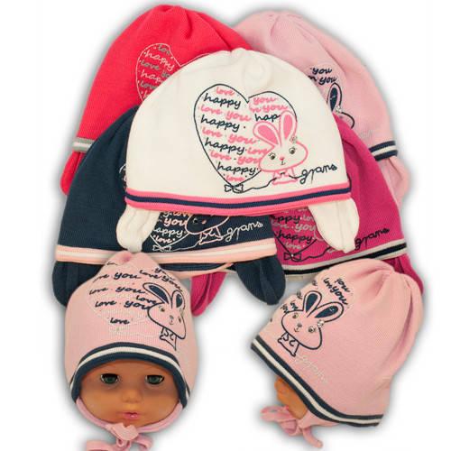 Вязаная шапка на завязках, для девочки, Ku286