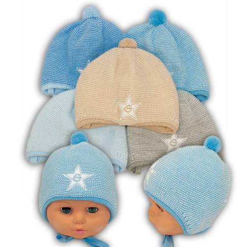 Вязаная шапка на завязках, для мальчиков, N105
