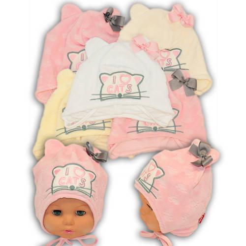 """Велюровая шапочка на завязках для девочки с вышивкой """"I love cats"""", Y1011"""
