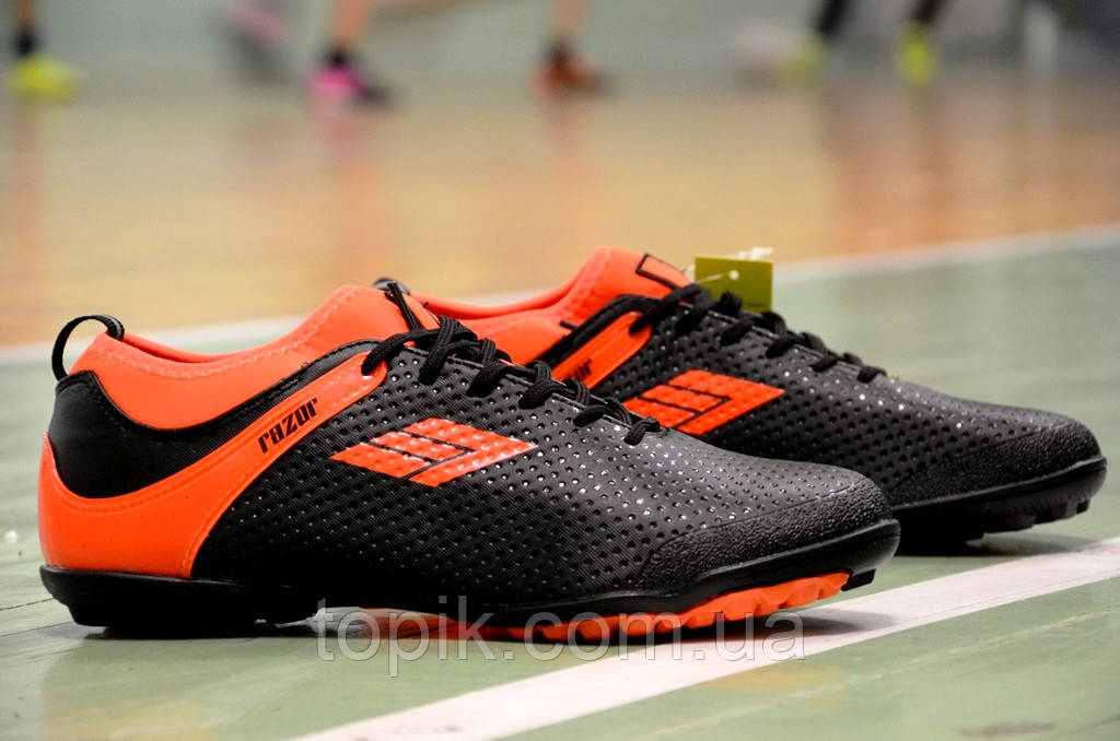 Сороконожки футзалки бампы для футбола Razor черные с оранжевым (Код: 330) Только 46р!