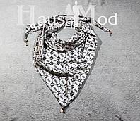 Женская атласная косынка принт Fendi Серый - стальной