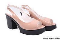 Стильные босоножки женские Summergirl беж эко-лак (черная подошва, каблук(