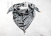 Женская атласная косынка принт Dior Серый - стальной