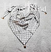 Женская атласная косынка принт Gucci Светло-серая