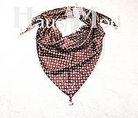 Женская атласная косынка принт Louis Vuitton Коричневая