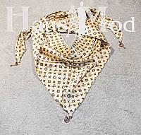 Женская атласная косынка принт Louis Vuitton Молочная