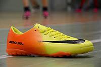 Сороконожки футзалки бампы Nike Mercurial найк желтые с оранжевым задником реплика