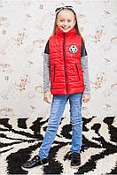 Теплая детская жилетка для девочки  128-146 красная