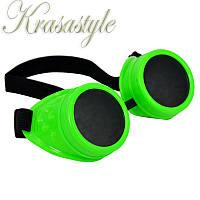 Гогглы, очки, Киберпанк, Стимпанк Зеленый