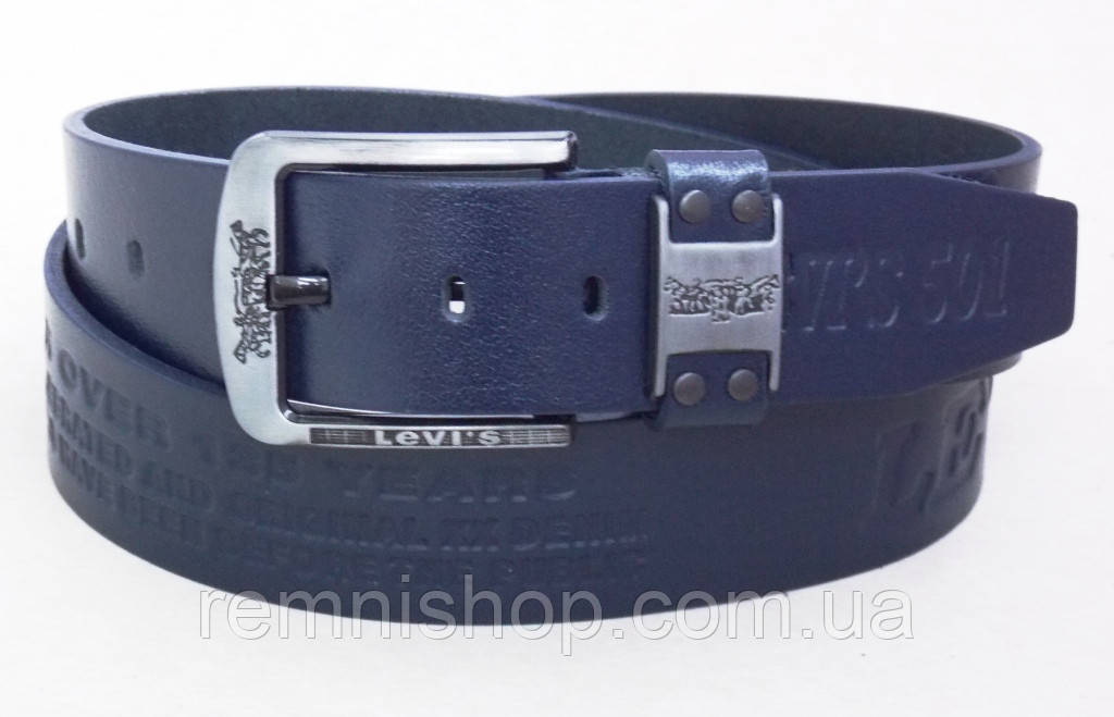 Кожаный джинсовый ремень Levis 501 синий