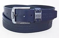 Кожаный джинсовый ремень Levis 501 синий, фото 1