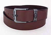 Коричневый кожаный мужской ремень Lacoste