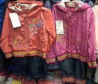 Детские весенние костюмы для девочек ветровка на флисе и джинсы 1-2-3 года