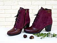 Ботинки бордового цвета из натуральной кожи  и замши со шнуровкой на устойчивом каблуке