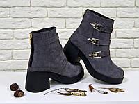 Ботинки из натурального замша серого цвета на устойчивом каблуке