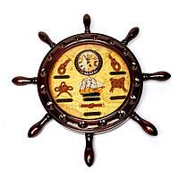 Настенные часы штурвал в морском стиле 009С