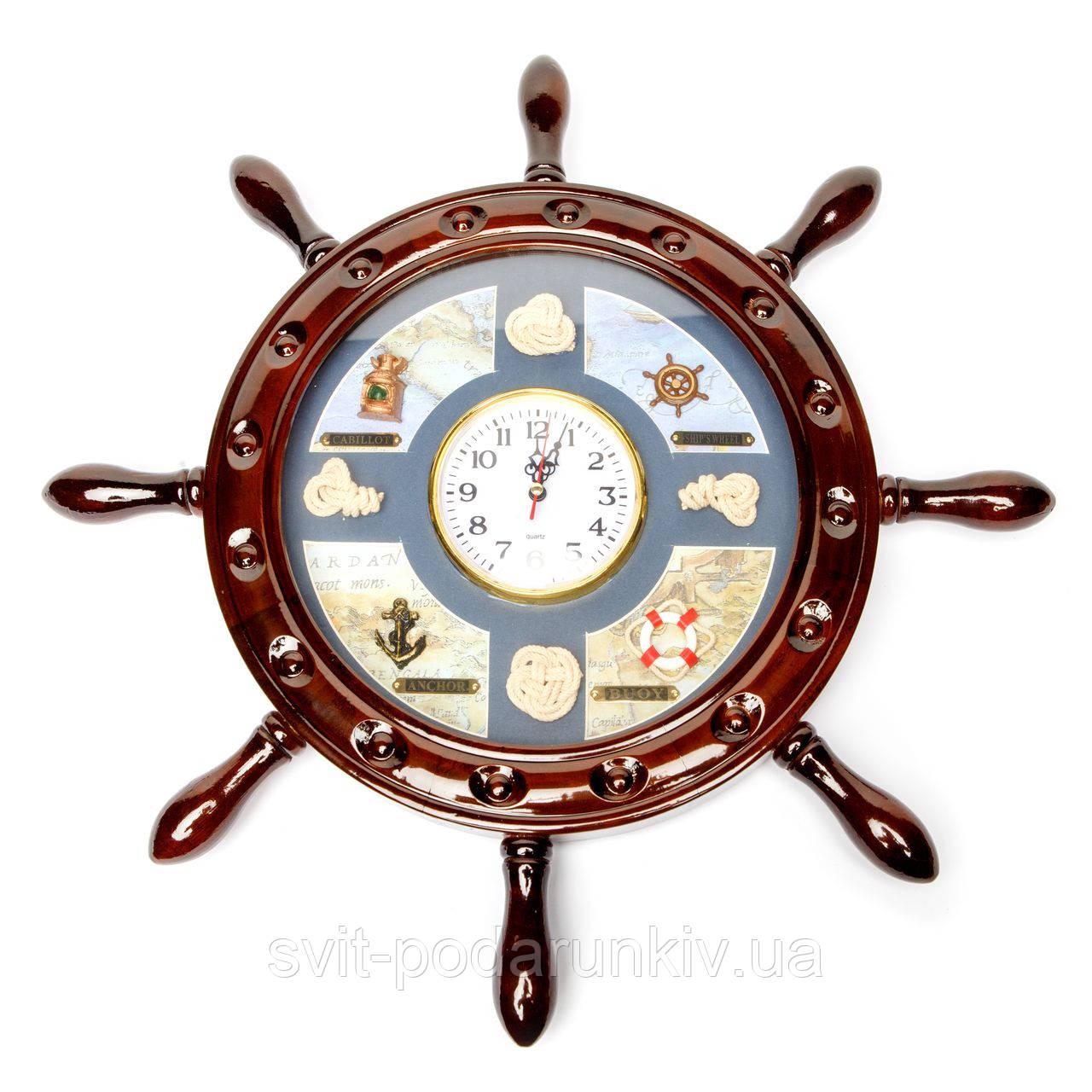 Часы с морской тематикой в виде штурвала 009KB