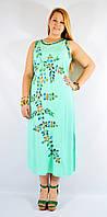 Платье длинное бирюзовое с цветами, роспись - ручная работа, до 58 р-ра