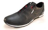Кроссовки мужские NIKE кожаные черные  (найк)(р.40,41,42,43,44)
