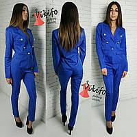 Костюм женский пиджак на подкладке и брюки мемори-коттон 3 цвета Df280, фото 1