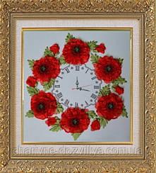 """Набор-часы для вышивания атласными лентами """"Маки"""" (белый фон)"""