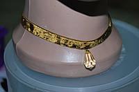 Чокер бархатный коричневый с подвеской