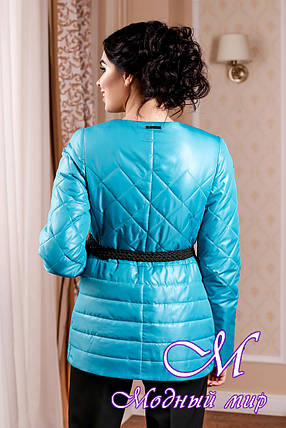 Молодежная демисезонная женская куртка цвета бирюза батал (р. 44-54) арт. 960 Тон 2, фото 2