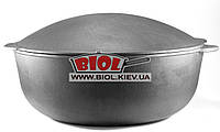 Кастрюля чугунная толстостенная 15,0л 40х15,5см с крышкой-сковородой садж ЭКОЛИТ (Украина)