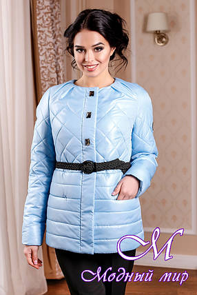 Молодежная демисезонная женская куртка бледно-голубого цвета батал (р. 44-54) арт. 960 Тон 11, фото 2